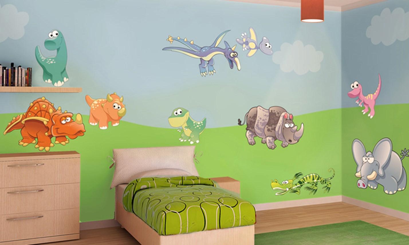 Stickers murali bambini cameretta nella preistoria leostickers - Adesivi murali per camerette ...